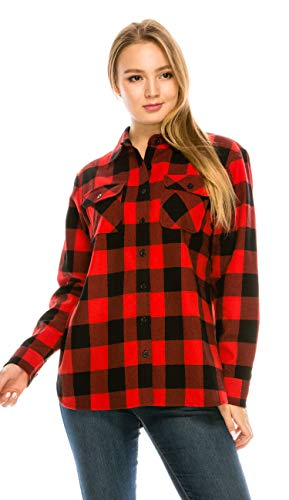 Womens Plaid Flannel (YAGO Womens Classic Outdoor Button Up Long Sleeve Plaid Flannel Shirt)