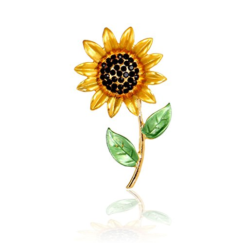 Joji Boutique Golden Bejeweled and Enameled Sunflower Pin (Brooch Crystal Sunflower)