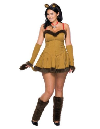 Wizard Of Oz Secret Wishes Cowardly Lioness Costume, Brown, Plus (Sexy Plus Halloween Costumes)