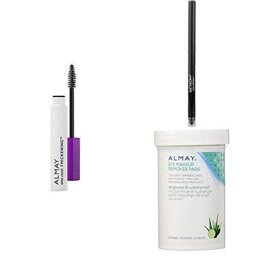- Revlon & Almay Perfect Eye Collection - Almay One Coat Thickening Mascara, Revlon ColorStay Eyeliner & Almay Longwear Eye Makeup Remover Pads - Black