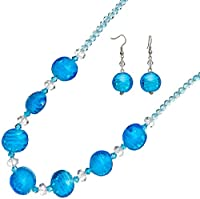 Ace Of Diamonds Helaine Italian Murano Glass and Austrian Crystal 18 Inch with 3 Inch Extension Necklace and Earrings Set