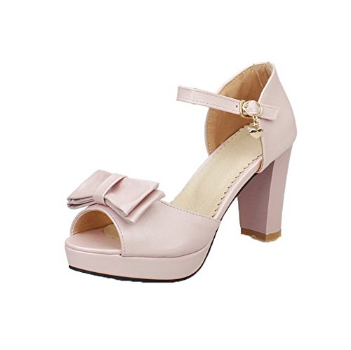 PU Toe Sandals Peep High Women VogueZone009 Solid Pink CCALP013694 Buckle Heels 5tw1x