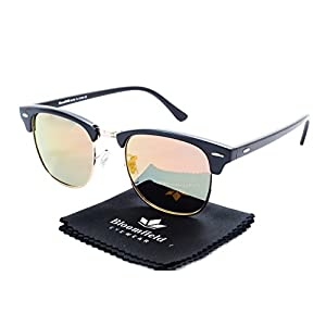 Bloomfield Eyewear, Classic Half Frame Horn Rimmed Clubmaster Type Sunglasses, for men and women (Venice, 49, Pouch))