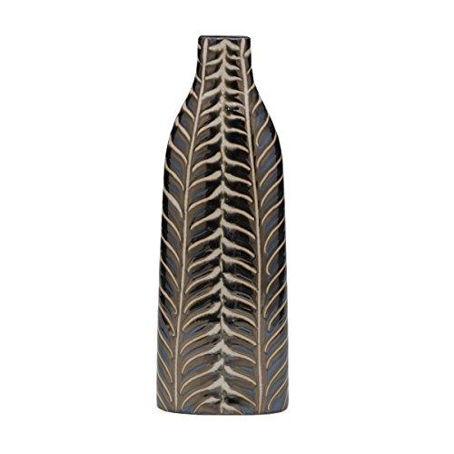 Bombay Bronze Leafy Ceramic Vase, 14-Inch