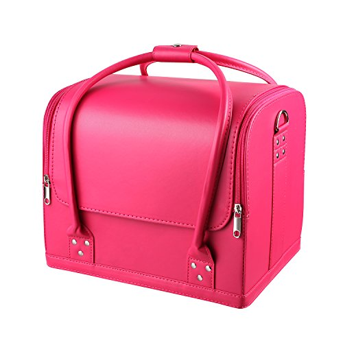 HOMFA Makeup Train Case 3 Layer Makeup Organizer Bag with Shoulder Strap Adjustable Dividers for Cosmetics Makeup Brushes Toiletry Jewelry ()