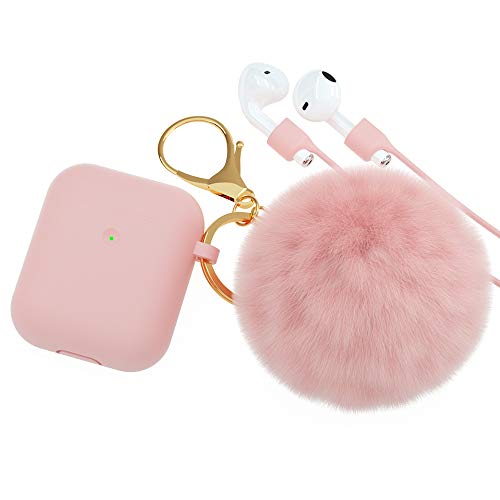 BRG for AirPods Case Cover,Soft Cute Silicone Cover for Apple Airpods 2 & 1 Cases with Pom Pom Fur Ball Keychain/Strap/Earbuds Accessories (Front LED Visible)