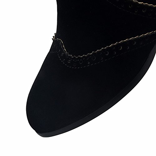 AllhqFashion Sólido Sin Mujeres Punta Tacón Botas Gamuza Puntera Mini Negro en Imitado cordones rgrwqOa
