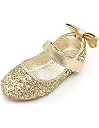 O&N Glitter Bow Kids Children Girls Ballet Flats Princess Bridesmaid Wedding Party School Shoes Mary Janes