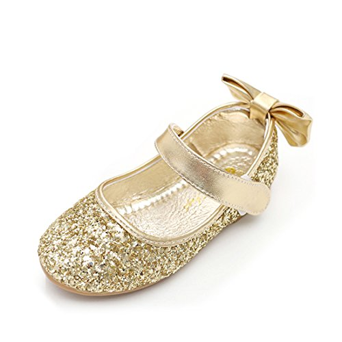 O&N Glitter Bow Kids Children Girls Ballet Flats Princess Bridesmaid Wedding Party School Shoes Mary Jane
