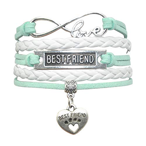 HHHbeauty Best Friend Friendship Bracelet (2018 Leather Infinity Love Friendship Gifts Best Friend Bracelets for Women, Men, Girls, Boys, Friends, Teens, Lovers (Mint Green and White) ()