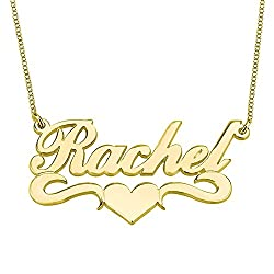 Hacool Personalized Name Necklace Pendants In 18k Gold Plated Custom Made With Any Name 18 Chain Golden