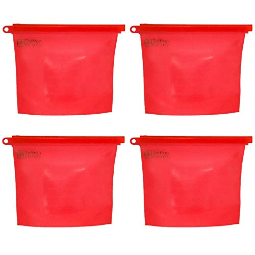 (Fill and Slide Reusable Silicone Food Storage Bags by Saffron Goods - 4 pack RED - Leakproof, Airtight Seal to Keep Foods Fresh - Eco Friendly Alternative to Sandwich Bags )