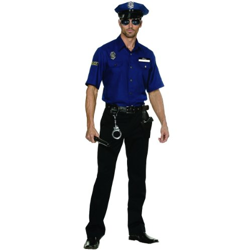 [Dreamgirl Men's You're Busted Cop Costume, Blue, Medium] (Police Costumes For Men)