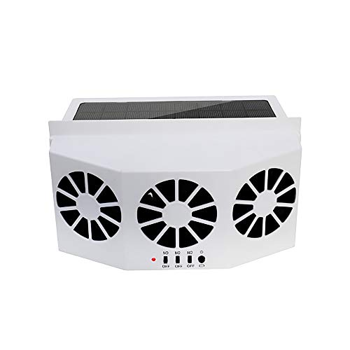 Solar Powered Car Window Windshield Auto Air Vent Fan,Auto Ventilator System,With Three-Headed Fan,Exhaust Fan Vehicle Radiator Vent with ()