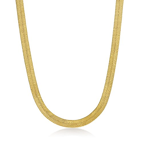 14k Gold Flat Edge (8.7mm 14k Gold Plated Herringbone Chain Necklace, 20