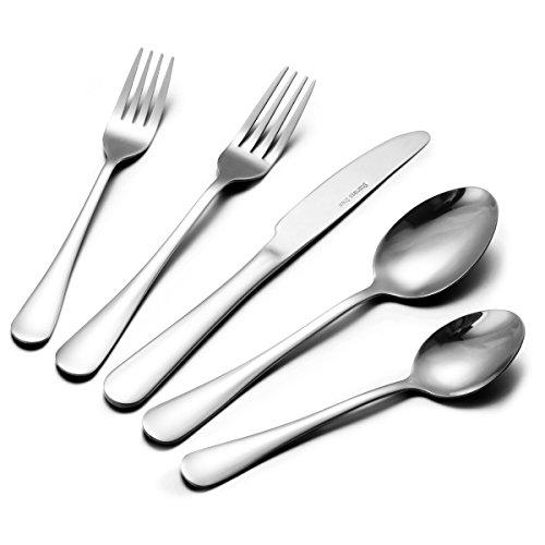 38-Piece Flatware Cutlery Set, Stainless Steel Silverware Set Mirror Polished with Knives Forks Spoons for Dessert & Dinner, Footek Modern Eating Utensils Tableware