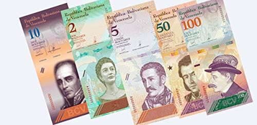(Venezuela Paper Banknotes 100 + 50 + 10 + 5 + 2 Bolivares Currency 5 Pieces 1 of Each)