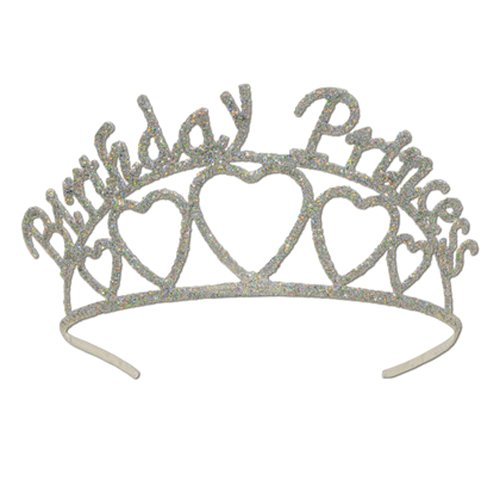 (Beistle 60631 Glittered Metal Birthday Princess Tiara, One Size Silver)