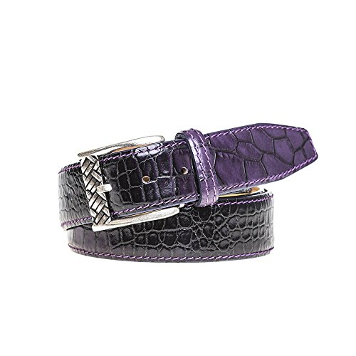 Purple Vintage Sunset Mock Croc Belt by Roger Ximenez: Bespoke Maker of Fine Leather Goods