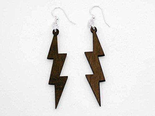 [Brown Lightning Thunder Bolts Wooden Earrings Jewelry] (Thunder Lightning Costume)