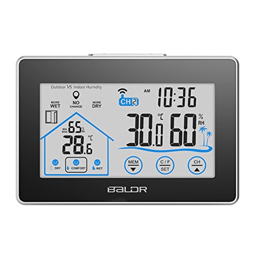 Lcd Digital Temperature Sensor - Edal Temperature & Humidity Monitor Meter Thermometer with LCD Digital Screen Clock Temperature Humidity Sensor Hygrometer for Indoor or Outdoor