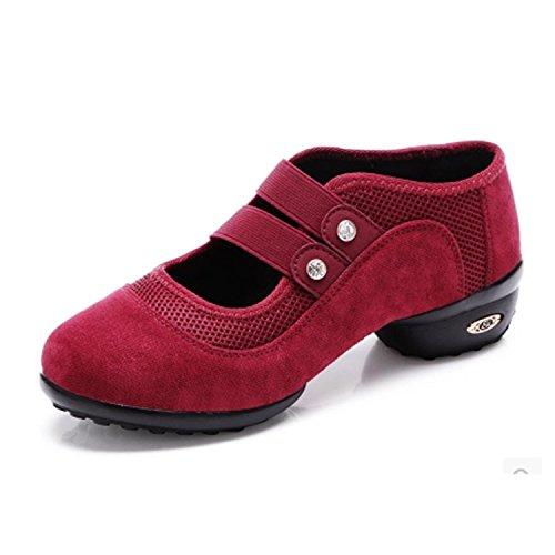 Danse Femmes Daim Rouges Maille Chnhira Chaussures De En Ceinture Timestep tpYwxqr7p
