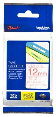 Brother  TZe-132 Original P-touch Schriftband 12 mm, rot auf transparent (kompatibel u.a. mit Brother P-touch PT-H100LB/R, -H105, -E100/VP, -D200/BW/VP, -D210/VP)