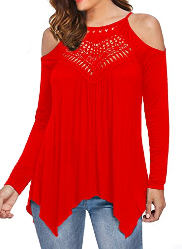 MIHOLL Women's Casual Tops Lace Off Shoulder Long Sleeve Loose Blouse Shirts (Medium, Red) (Lace Red Top Sexy)