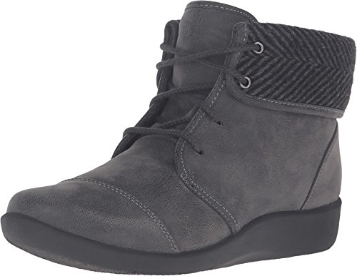 CLARKS Women's Sillian Frey Boot, Grey Synthetic Nubuck, 9 M US (Clarks Boots Sale Womens Ankle)