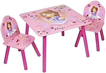 Charmant Disney Sofia The First Wooden Childrens Table Two Chairs Set Bedroom  Playroom Desk Kids Furniture