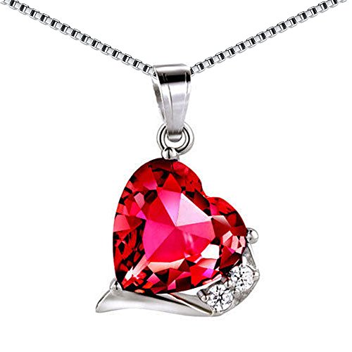MABELLA 925 Sterling Silver Heart Necklace Simulated Ruby Pendant Gemstone, for Women