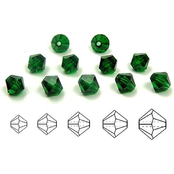 Aurora Borealis Green AB Color Beads Medium Emerald AB coated 4mm andor 6mm Czech MC Bicone Bead in 3mm Rondell, Diamond Shape