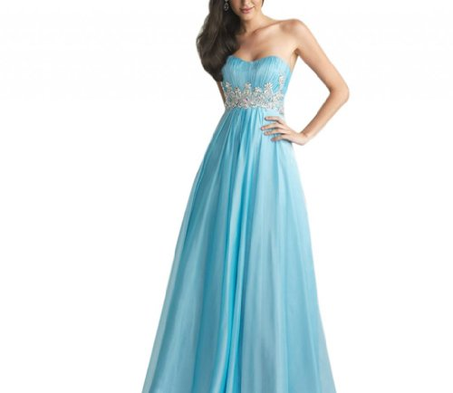 Blue Sweep Empire Train Evening Dresses Chiffon Sweetheart Women s Dearta w7qnEzI7