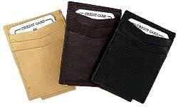 Leather Money Clip & Credit Card Holder BURGUNDEY