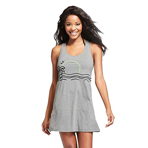 (Xhilaration Women's Embroidered Tank Cover Up Dress (Gray, S))