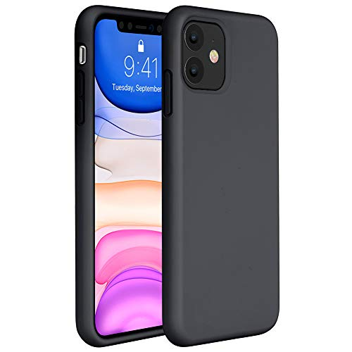 : Miracase Liquid Silicone Case Compatible with iPhone 11 6.1 inch(2019), Gel Rubber Full Body Protection Cover Case Drop Protection Case (Black)