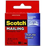 Scotch Tear By Hand Mailing Packaging Tape, 1.88 x 629 Inch, Clear (3841)(2Pack )