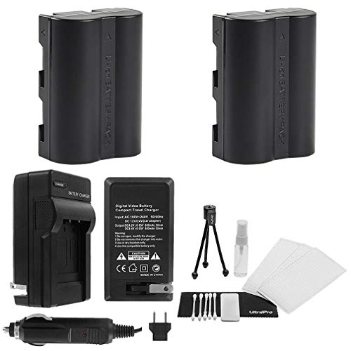 (D-LI50 Battery 2-Pack Bundle with Rapid Travel Charger and UltraPro Accessory Kit for Select Pentax Cameras Including K10D and K20D)