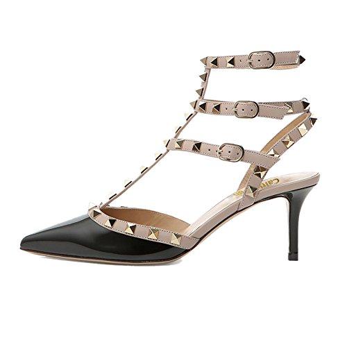A Borchie Slingback Caitlin Con Stud Punta Heel Sandali Pan Kitten Patent Dress Cinturino Donna nude Black Studs Strap gold FFqtwf1