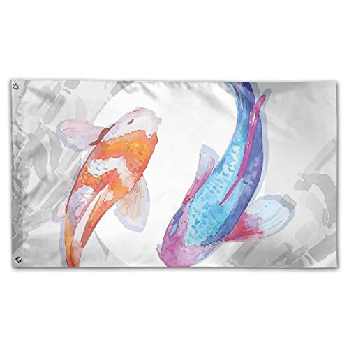 DIKKN Garden Flag Watercolor Koi Fish Couple Design 59IN35IN Flags Party&Game -