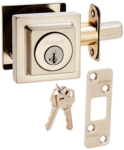 Kwikset 993 Square Contemporary Single Cylinder Deadbolt featuring SmartKey in Satin Nickel