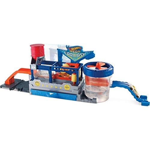 Hot Wheels FTB66 City Mega Car Wash Connectable Play Set with Diecast and Mini Toy Car ()