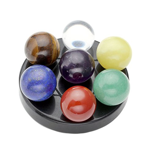 Qgem Seven Star Group Chakra Sphere Crystal Balls On Obsidian Base Reiki Healing Set W Box
