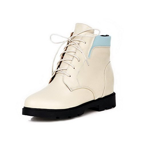 Allhqfashion Women's Low-Top Lace-up Soft Material Kitten-Heels Round Closed Toe Boots Beige i27O39