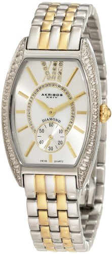 Women's  Diamond Swiss Quartz Tourneau Bracelet Strap Watch - Akribos XXIV AKR470TT