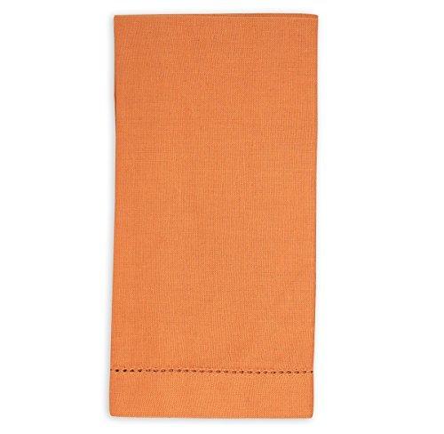 Martha Stewart Napkin - Martha Stewart Hemstitch Linen Dinner Napkins, Harvest Orange (Set of 4)