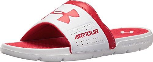 Under Armour Men's Playmaker VI Slides, White/Red, 12 D(M...