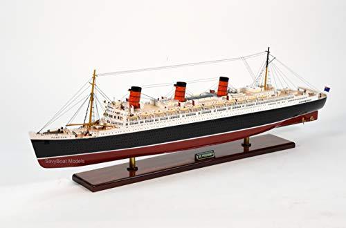 (SS Poseidon Ocean Liner Handmade Wooden Ship Model 39.5