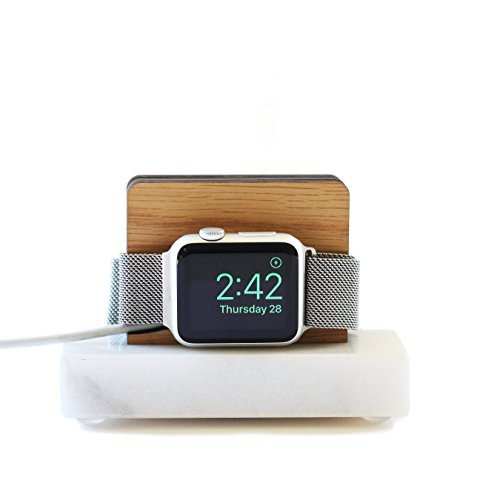 Apple Watch Stand White Marble and White Oak - Nightstand Mode by ILUXO
