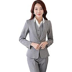 URUOI Women's Two Piece Office Lady Blazer Business Professional Suit Set Gray XL